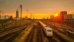 Munich Sunset (D.J. De La Vega) Tags: light sunset sun train germany munich nikon df tracks