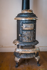 Round Oak Wood Heater (Serendigity) Tags: lincoln wildwest usa newmexico unitedstates historic town museum