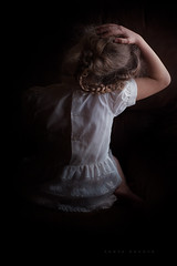 Braids (Sonya Adcock Photography) Tags: girl child kid photography childphotography light warm family painterly portrait poetry poetic story nikon nikond700 nikkor nikkor105mmdc childhood fineart fineartphotography art sonyaadcockphotography chiaroscuro lowkey faceless form hair braids lace dress vintage