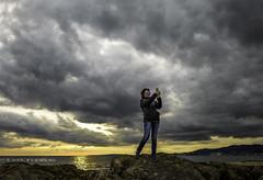 Selfie (rmfly) Tags: selfie autorretrato mujer cielo atardecer mallorca playa elmolinar nikkor24mm14g nikond800