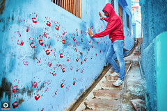 ~ Paint me RED ~ (Chirag Khatri) Tags: nikon street streephotography jodhpur blue red tamron tamron1530 town color print steps rajasthan india incredible d7200 paint hand hands early passage people