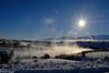 Steamy Winter Wonderland (brian eagar) Tags: utah outdoor outside landscape scenery nature utahlandscape utahscenery winterlandscape fuji xf23f2wr xf23f2 fujifilm fujinon xpro2 fujixpro2 blue white green grey gray steam sun sunstar lake mountain valley snow sky boxeldercounty january 2017