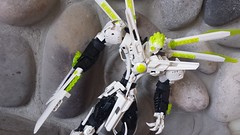 Vulcaan: Guardian Angel. (TTV Monochrome MOC contest) (RaptorTalon) Tags: moc lego white black green dank memes hero factory bionicle