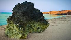 Algae On Huge Rock || Sep. 2012 (dr.7sn Photography) Tags: beach sea redsea sand rock rocks hugerock algae sky blue green saudi saudiarabia jeddah amluj dr7sn nikon