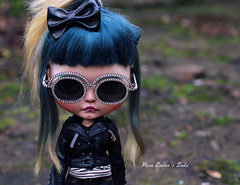 Dull days (pure_embers) Tags: pure laura embers blythe doll dolls custom photography uk england girl pureembers tiina soda emberssoda lip ring piercing portrait sunglasses dull days leather jacket rock chick bow
