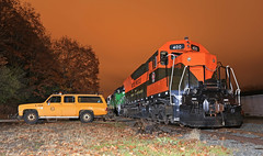 All that Muscle (GLC 392) Tags: bn burlington northern gn great hustle muscle osceola mn minnesota emd sd9 sdp40 sd45 night shot truck staged railroad railway train mstx 400 325 6234 time photo photography transportation museum passenger electro motive division wi wisconsin