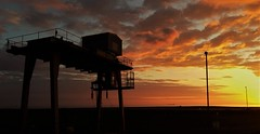 Railhead Lifting Crane Sunset- Torness (Gilli8888) Tags: railhead crane silhouette sunset coast coastal lamppost light clouds sky mechanical scotland landscape torness