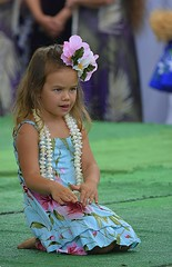 Young Hula Girl (swong95765) Tags: girl kid performance hula outfit dance exhibition cute flowers mumu lei focused stage hands concentration