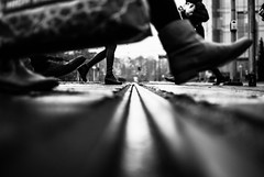 Big Little (ewitsoe) Tags: feet crossing ewitsoe erikwitsoe nikond80 people winter boots cold zima nikon cityscape citylife urban pedestrian monochrome blackandwhite