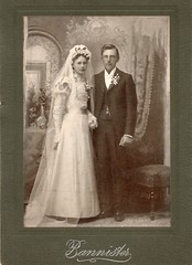 Wedding Picture of Unknown - Bannister - not in Minnesota? (Witty Girl) Tags: unidentified historic old swansonlarsenlee bannister wedding bride groom inside portrait