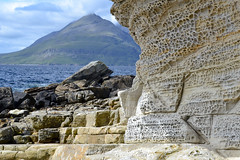 Honeycomb Weathering and the Cuillins (edward.butleredb) Tags: honeycomb weathering honeycombweathering erosion sea cliffs elgol skye scotland