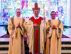 Bishop Persico with new Deacons Kerins and Seyler