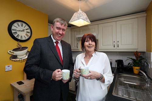 Social Development Minister, Mervyn Storey MLA, has today visited Anne Dean to view the kitchen replacement scheme completed in her Housing Executive property at Kilmacormick Close