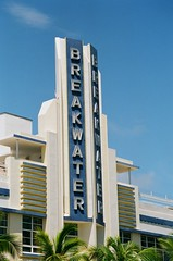 Art Deco Architectural Detail Breakwater Hotel  South Beach 1939 (Phillip Pessar) Tags: camera building art film beach architecture hotel fuji minolta florida miami superia south details architectural 400 fujifilm dynax deco 1939 breakwater sobe xtra c41 303si