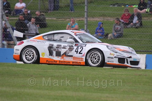 The PROsport Performance Porsche 981 Cayman SP GT4 of Adam Christodoulou and Henry Hassid in British GT Racing at Donington, September 2015