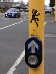 Waiting to cross (Home Land & Sea) Tags: street newzealand art nz waikato gecko taupo crosswalk pointshoot sonycybershot pedestriancrossing homelandsea dschx100v