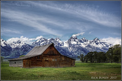 Western Sky (Rick Shot) Tags: ranch sky mountains barns wyoming grandtetons elevation summits 775 mormonbarn nationalparklands