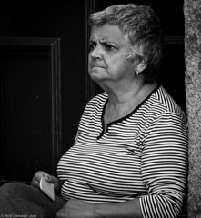 Disbelief and Outrage. (Neil. Moralee) Tags: street old portrait blackandwhite bw woman white black monochrome face shirt female dark mono nikon sitting grandmother candid stripes stripe mother neil anger rage outraged mature stare grimace gran frustration granny wrinkle outrage wrinkled d7100 moralee neilmoralee neilmoraleenikond7100 imptence