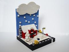 Microscale Winter Vignette (Razvy_cluj_ro) Tags: street winter house snow building scenery lego mini micro snowing vignette moc microscale miniscale