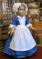 """View B Prototype of upcoming KDD-20 """"Colonial Day Dress"""" (Keepersdollyduds) Tags: day elizabeth dress lace colonial apron cotton prototype voile pinner keepers americangirldoll fichu kdd20 keepersdollyduds longearedcap"""