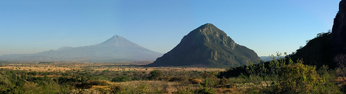 Popocatepetl and smaller peak near the ruins at Chalcatzingo