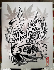 Primera pintura del 2017 (Bastian Klak) Tags: klak bastianklak tattooflash skull bonghead bong 420 weed marihuana smoke stoned santiago chile posca dotwork dots artwork graphics