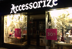 Accessorize, Preston (Tony Worrall) Tags: preston north northwest lancs lancashire england northern uk update place location visit area county attraction open stream tour country welovethenorth unitedkingdom night street shops closed lit light dim bright signs buy sell goods fishergate accessorize