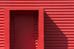 Red, red, red ... (Jan van der Wolf) Tags: map158554v red redrule rood door deur shadow schaduw monochrome monochroom lines lijnen