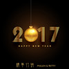 creative golden 2017 lettering with christmas ball (林士農 vs 蔡青青) Tags: 2017 new year happy eve event december card wallpaper greeting celebration occasion wishes holiday background winter season poster beautiful creative gold golden luxury christmas ball