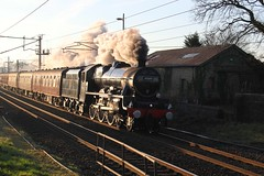 LMS Stanier 6P5F Jubilee No. 45690 'Leander' with RTC 1Z54 Winter Cumbrian Mountain Express passing Bay Horse Station 21st January 2017. © (steamdriver12) Tags: lms stanier 6p5f jubilee no 45690 leander with rtc 1z54 winter cumbrian mountain express 21st january 2017 wcr west coast railways wclm main line railway touring company coal oil smoke steam preservation bay horse station lancashire sun