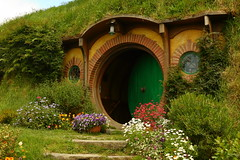 Isolation of That Iconic Green Door Hobbiton New Zealand