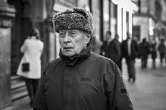 Comrade (Leanne Boulton) Tags: people monochrome depthoffield urban street candid portrait portraiture closeup streetphotography candidstreetphotography streetportrait candidportrait streetlife man male face facial expression look emotion feeling eyes hat style russian soviet comrade fashion cold winter weather tone texture detail bokeh naturallight outdoor light shade city scene human life living humanity society culture canon 5d 5dmarkiii character 70mm ef2470mmf28liiusm black white blackwhite bw mono blackandwhite glasgow scotland uk