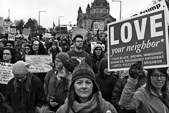 Love Your Neighbor (TwinCitiesSeen) Tags: people blackandwhite canont3i tamron2875mm saintpaul minnesota twincities womensmarch twincitiesseen