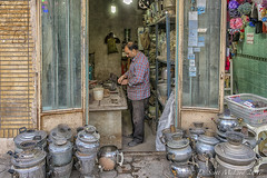 Samovar repair shop (D. Scott McLeod) Tags: kashan iran travel mcleod scottmcleod dscottmcleod shopkeeper samovarrepairman streetphotography