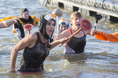 Leading The Charge: Polar Plunge (Kyle William Russell) Tags: cold freezing bitter plunger photojournalism river illinois ottawa swim dunk water wet dripping penguin plunge polar ice icey woman toilet hat hats