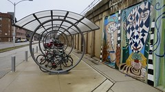 Parking (Crawford Brian) Tags: bike bicycle parking shelter urban streetfurniture mural oakpark illinois midwest viaduct el cta chicagotransitauthority greenline elevatedtrain street outdoor