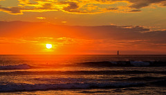 Endless Summer (KC Mike D.) Tags: waves pacific ocean sunset surfer boat sail sailboat clouds beach