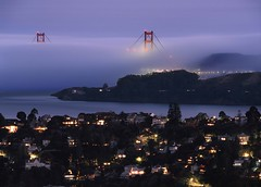 Tiburon Blue Hour Affair (RZ68) Tags: marin county tiburon belvedere california san francisco bay tele photo long lens far away rz67 velvia provia e100 golden gate bridge headlands fof low clouds blue hour evening sunset