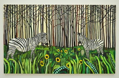 Stripes Are In (dhcomet) Tags: london saatchi gallery art chelsea dukeofyork zebra trees painting sunflower spiritguidesandsunflowers raffikalenderian