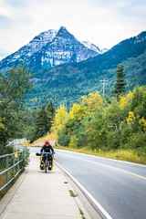 Cycling out of Waterton Lakes Nat'l Park.