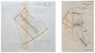 Rilievi della porzione di territorio destinata al nuovo insediamento dei lavandai realizzato in prossimità di Cascine Doppie intorno agli anni 1890.
