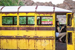 Come in (Antoine Grelin) Tags: old bus love colors beautiful car vintage 50mm town model cabin pretty desert nevada ghost engine nelson ghosttown driver depth