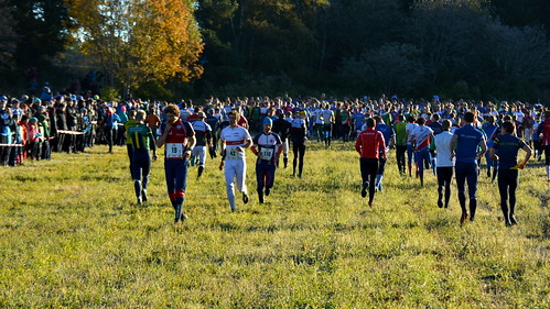 Orienteers gathering to the start line - 25manna 10.10.2015