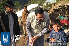 IRUSA CEO Anwar Khan visits 6-year old Irfan in Pakistan whose house was destroyed by the earthquake. He is living in a tent that was provided by IR Pakistan.