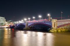 Blackfriars Bridge (Spannarama) Tags: nightphotography night dark evening bridge arch river water reflections lights stpaulscathedral longexposure thames london uk lighttrails traffictrails blackfriarsbridge