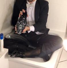 white-tie-shower-1_10300227405_o (shinydressshoes) Tags: tails tailcoat tuxedo suit muddy gunge wet shiny shoes shinyshoes leather patent dressshoes groom wedding whitetie frack formal shower lackschuhe lackschuh