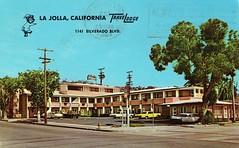 TraveLodge Motel, La Jolla, CA (Guy Clinch) Tags: postcard motel oldcars travelodge