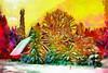 Happy New Year! (Kalev Vask.) Tags: digital kalevvask postprocessed dap photoshop photomanipulation digiart photoart painterly artistic creative estonia snow trees village sunset