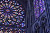 Cold and stained by light (sagesolar) Tags: windows light glass stainedglass arches pillars cathedral stmalo saintmalo colours colourful colors colorful architecture indoor blue church polychromatic stonework brittany france