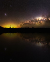 Milky Way Reflections - Cataby, Western Australia (inefekt69) Tags: panorama stitched mosaic ptgui milky way cosmology southernhemisphere cosmos southern westernaustralia australia dslr longexposure rural nightphotography nikon stars astronomy space galaxy astrophotography outdoor milkyway core great rift ancient sky 35mm d5100 landscape cataby lake reflections mirrored composite explore explored